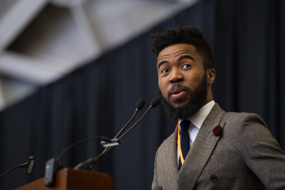 Joshua Bennett, speaking at a ceremoney on Alumni Day 2016, was one of four winners of the Porter Ogden Jacobus Fellowship, Princeton's top honor for graduate students. (Photo Courtesy of Princeton University)