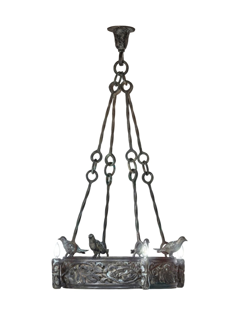 Blue Bird and Oak Leaf Chandelier , 2013, Bronze, Limited Edition of 8, 52 x 32 x 32 inches