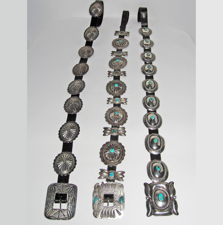 Navajo concho belts 1930-1960