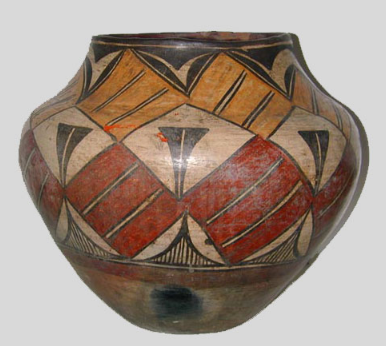 Zia four-color jar, circa 1890