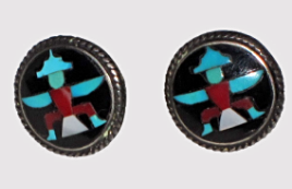 Zuni mosaic inlay earrings, attributed to John Leekity (John Gordon Leak)