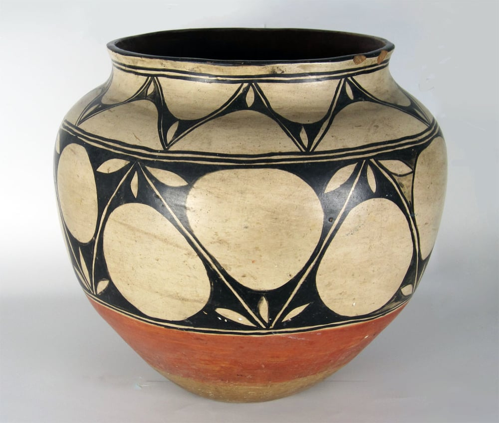"Historic Santo Domingo large storage jar, 17 3/4"" diameter x 19"" high: http://www.marcyburns.com/pottery-collection/santo-domingo-large-storage-jar"