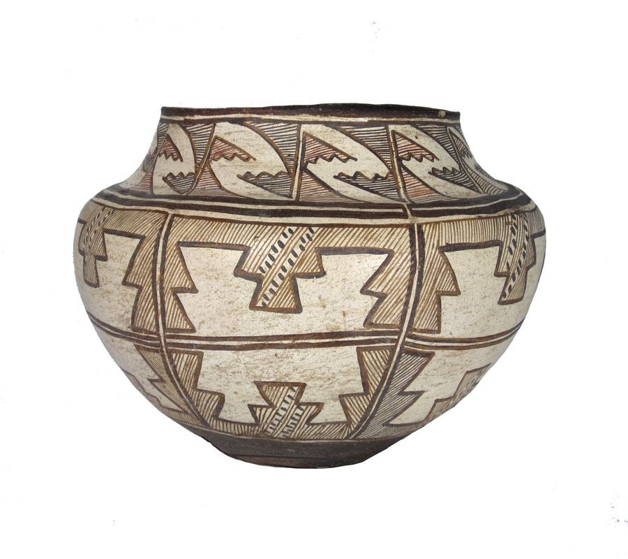 Zuni 4-color jar with geometric designs, circa 1880-1890