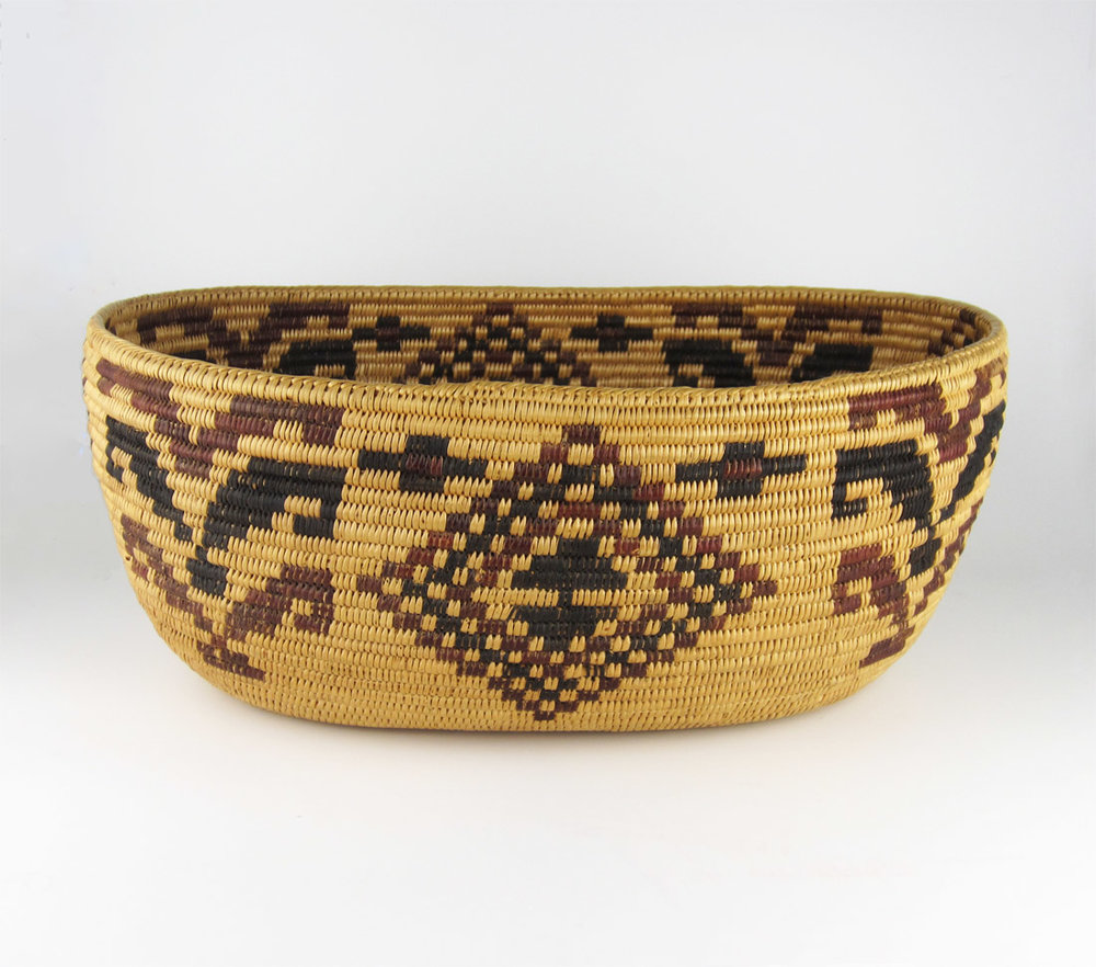 Mono Paiute basket, woven by Sally Lundy, Mono Paiute. ex: Yosemite Field Day 1929; Emma Cain Collection.    http://www.marcyburns.com/baskets-collection/mono-paiute-polychrome-basket