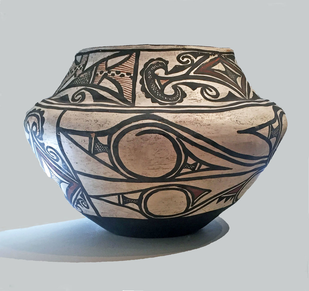 "Zuni polychrome jar, circa 1875. 12"" diameter x 9"" high.    http://www.marcyburns.com/pottery-collection/x6xk1v5rupecrb5d9kw09mziptjoea"