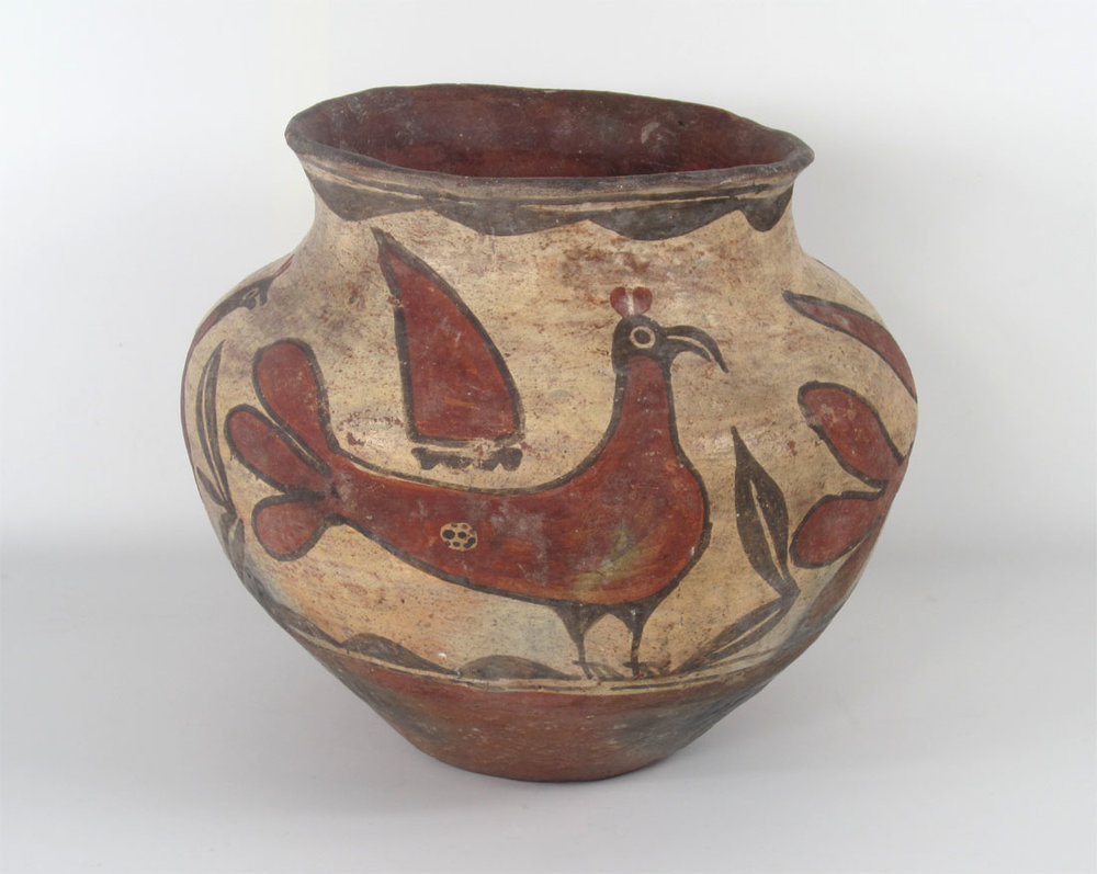 "Zia Historic jar with 2 parrots and 2 ""Zia"" birds   http://www.marcyburns.com/pottery-collection/zia-jar-with-birds"