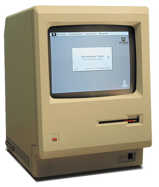 "The original Macintosh, circa 1/24/1984. Image credit: ""Macintosh 128k transparency"" by w:User:Grm wnr - Licensed under CC BY-SA 3.0 via Commons."