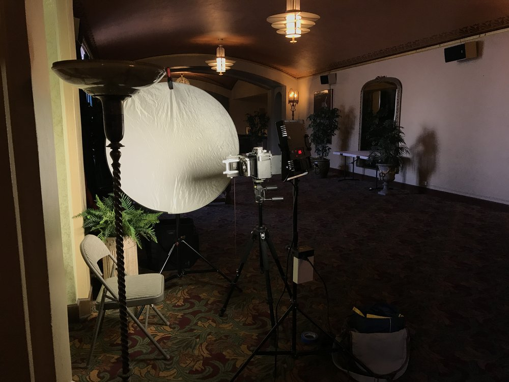 My little large format portrait studio at the Castro Theater's mezzanine. ©Ian Tuttle 2017