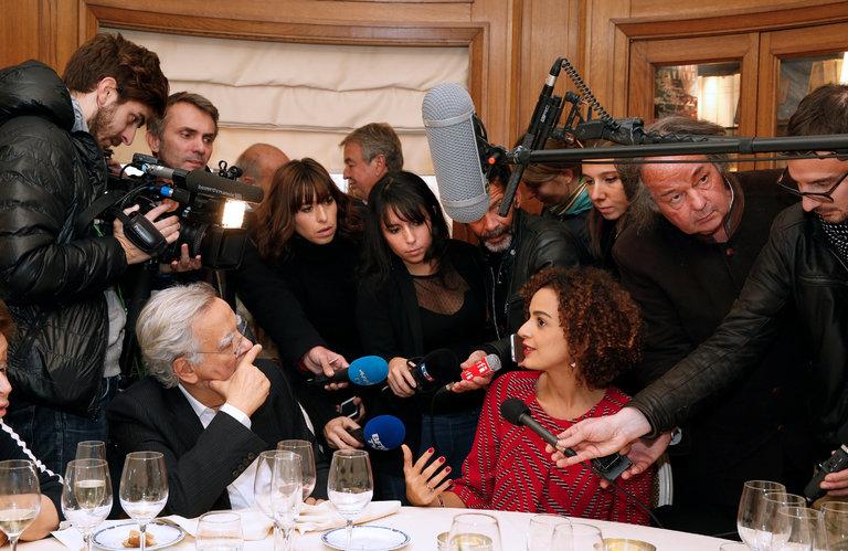 Novelist Being Interviewed in Paris After News of Award (Jacky Naegelen/Reuters)