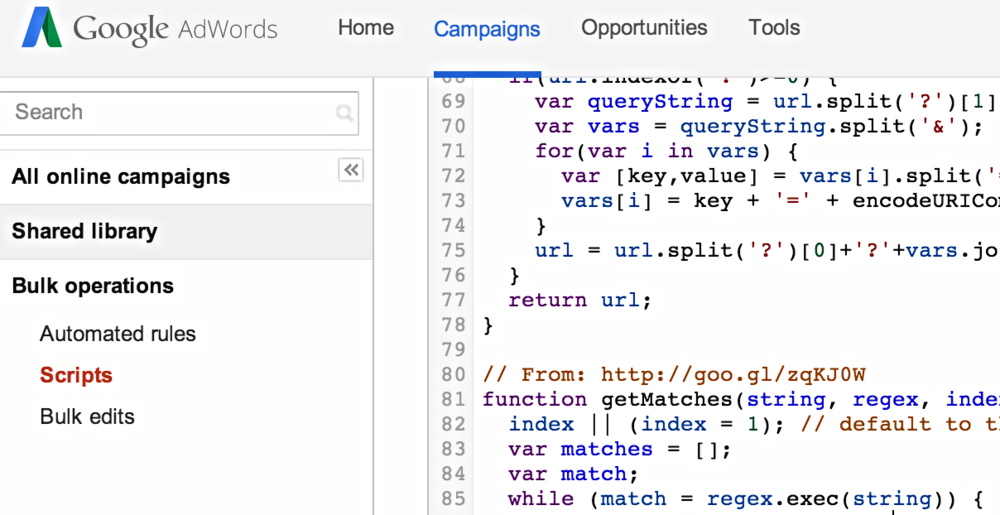 The AdWords Scripts UI in Google AdWords