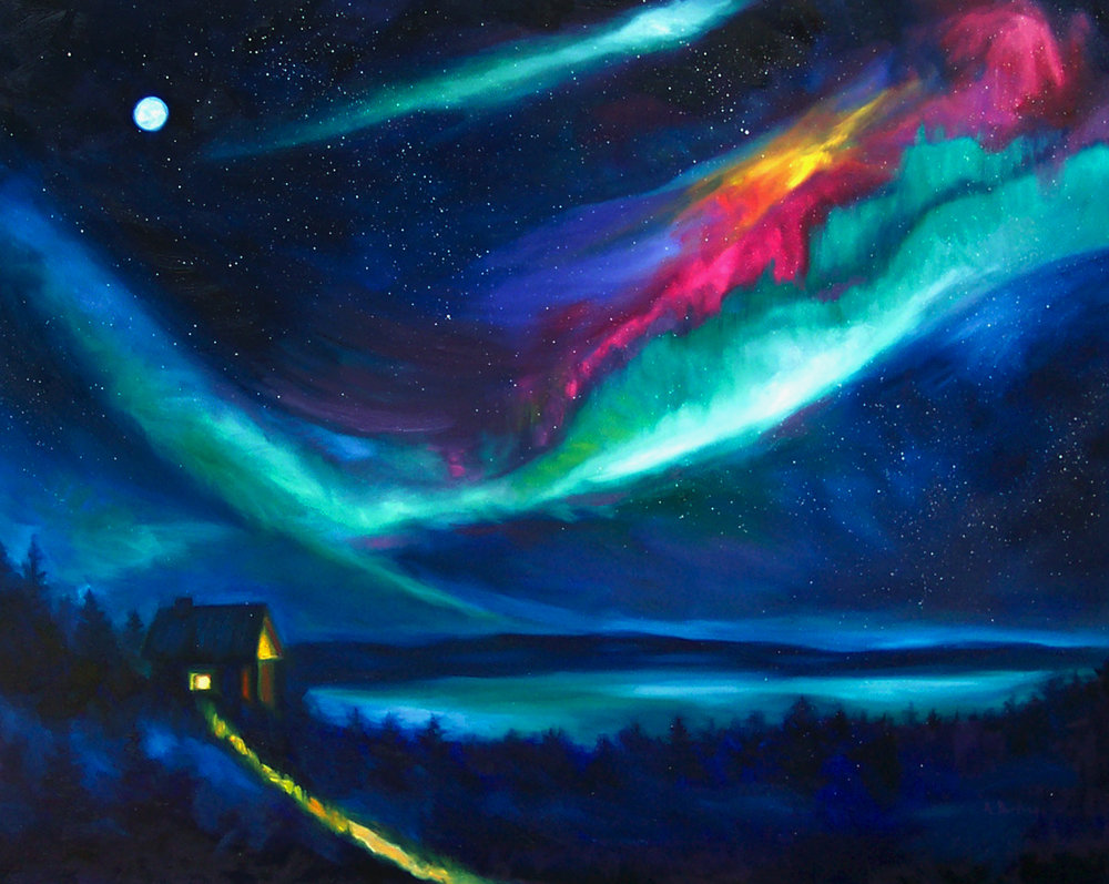 Northern Lights: Cabin Glow Lake (SOLD)
