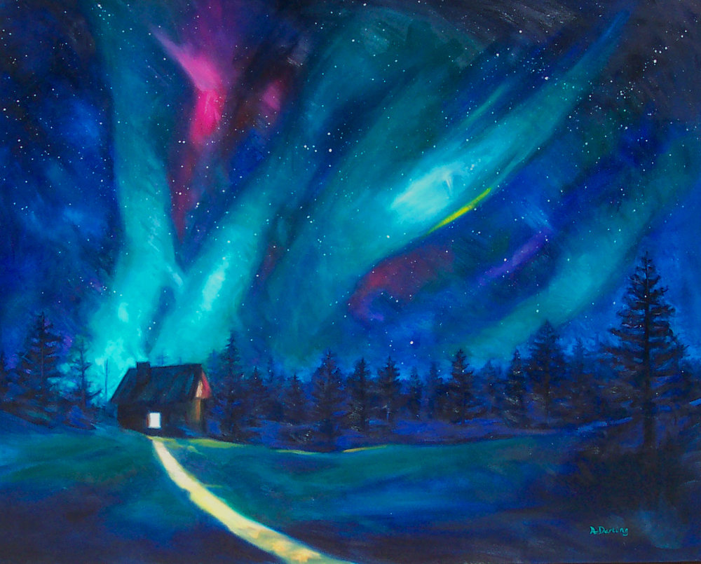 Northern Lights: Cabin Glow (SOLD)