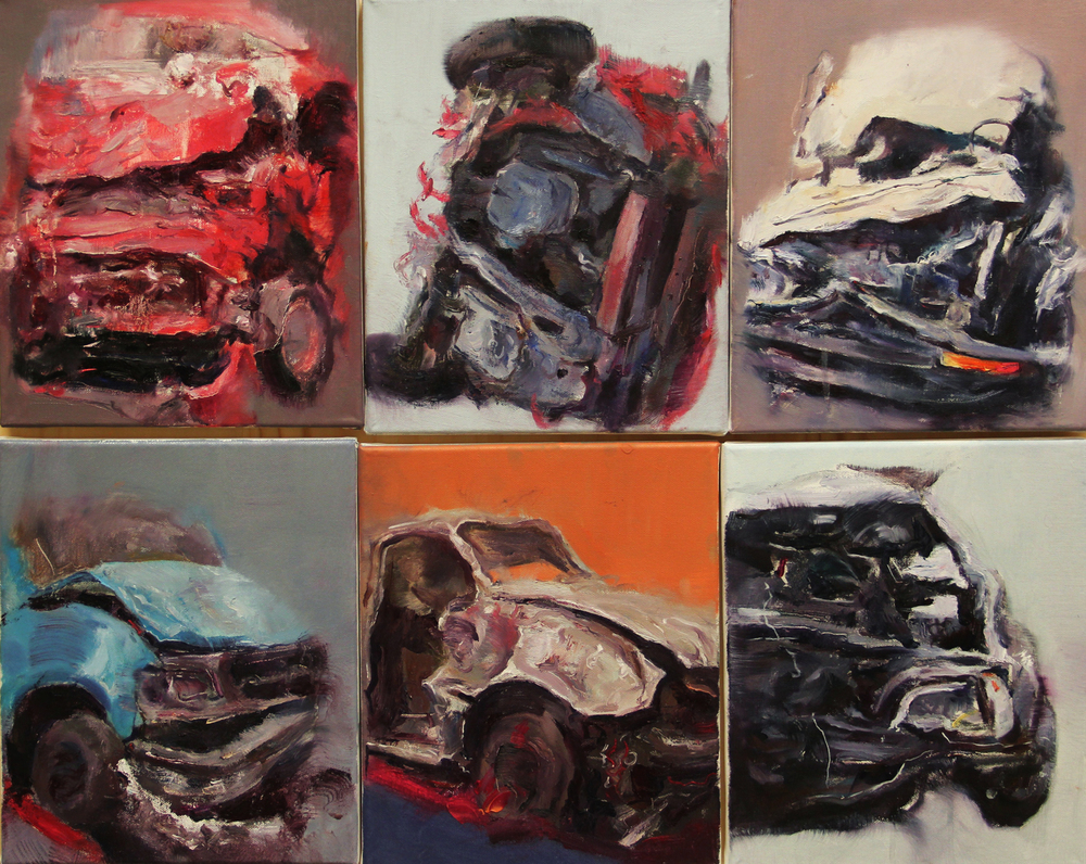 Crashing  , painting, oil on canvas, 25 x 30cm each, 75 x 60cm, 2012