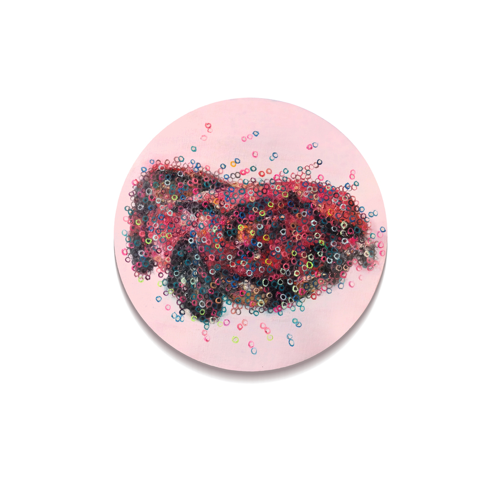 Vague No.3  , painting, oil on linen, Diameter 40cm, 2014