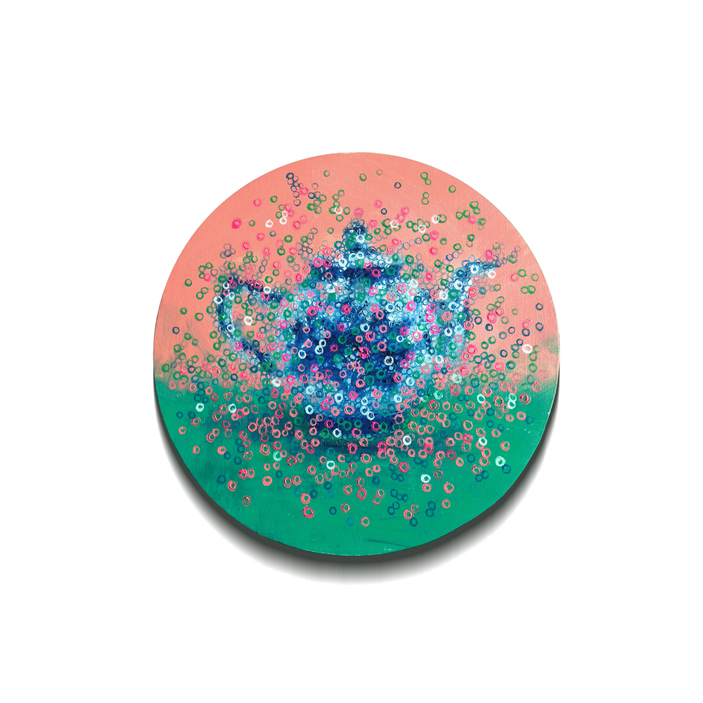 Tea Pot  , painting, oil on linen, Diameter 40cm, 2015