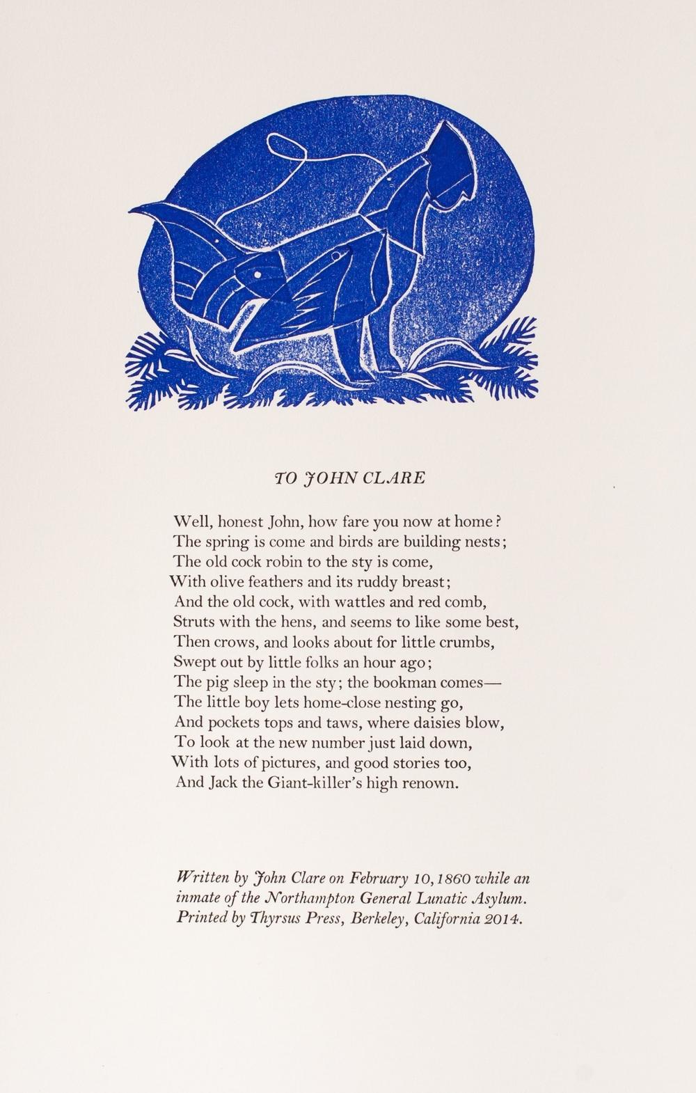 John Clare, To John Clare, 2014