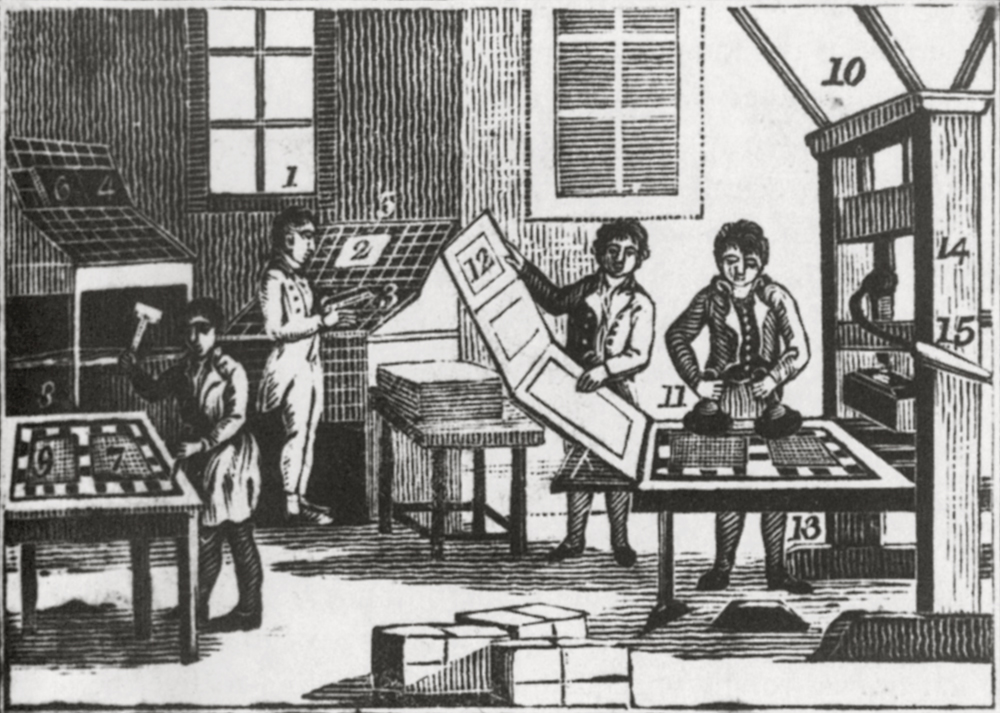 """Printing Shop,"" from Alexander Anderson Scrapbooks, vol. 1; 19th century; Alexander Anderson (American, 1775-1870); wood engraving; New York Public Library, [Source: http://www.bgc.bard.edu/]"