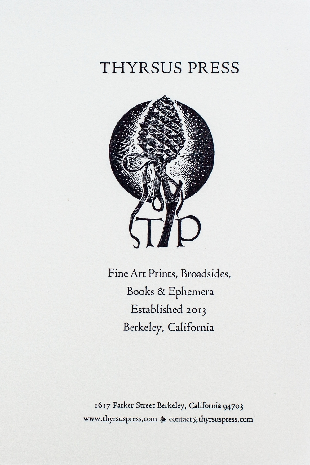 Thyrsus Press Prop Card (Front), 2014