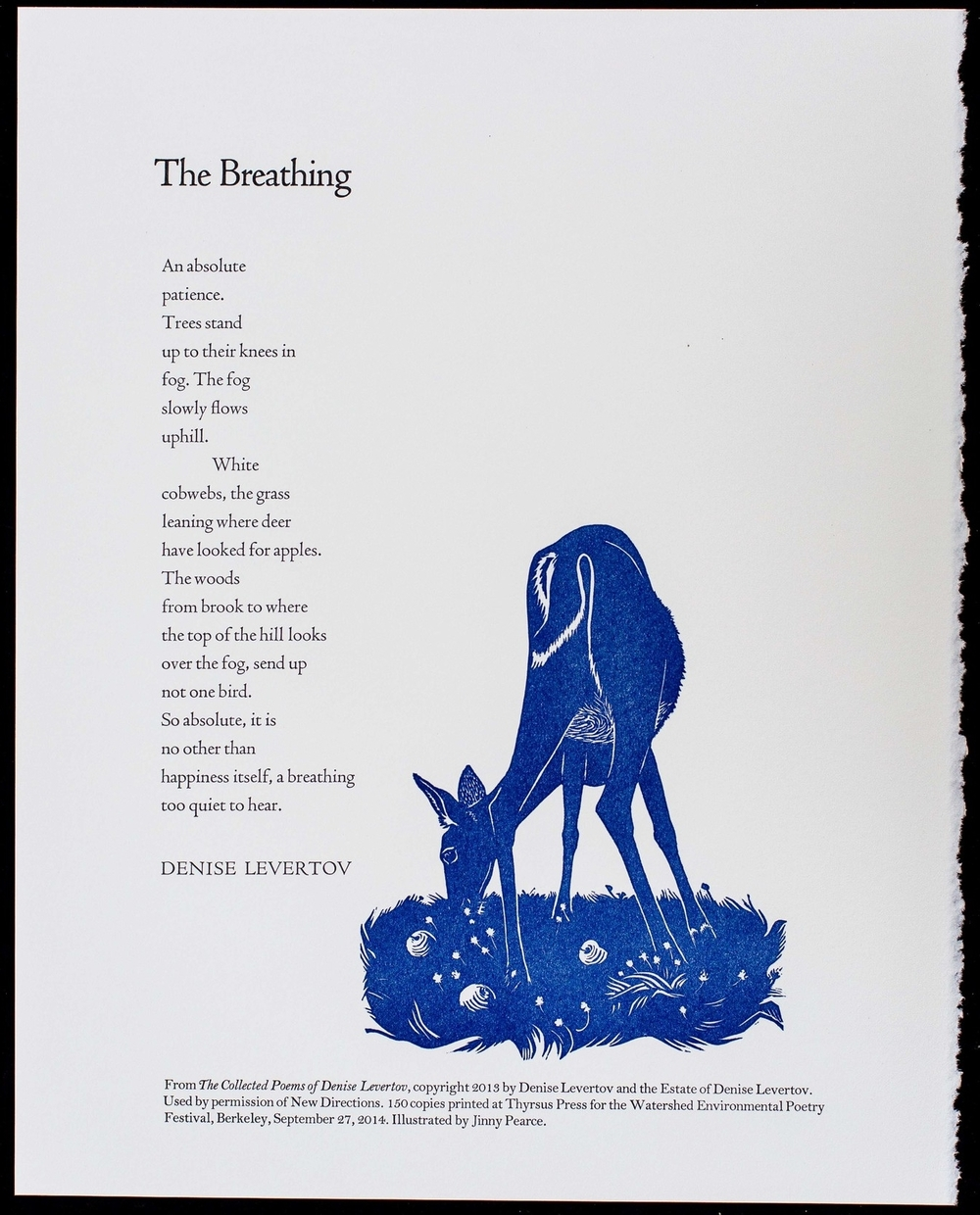 "Thyrsus Press broadside of ""The Breathing"" by Denise Levertov for the 2014 Watershed Environmental Poetry Festival."