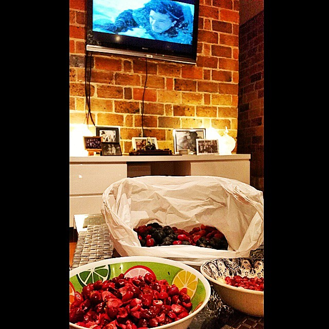 Pitting lilly pilly berries ain't so bad when you're watching Jon Snow... I mean, Game of Thrones. Ahem.