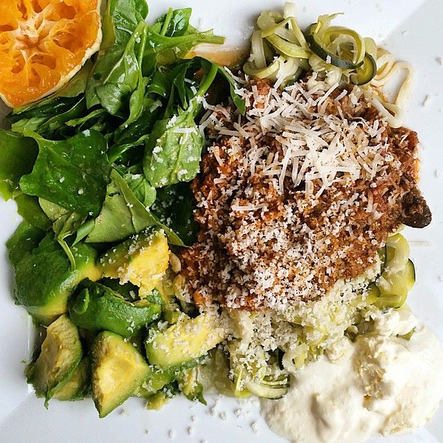 Warrigal greens salad with zoodles bolognaise