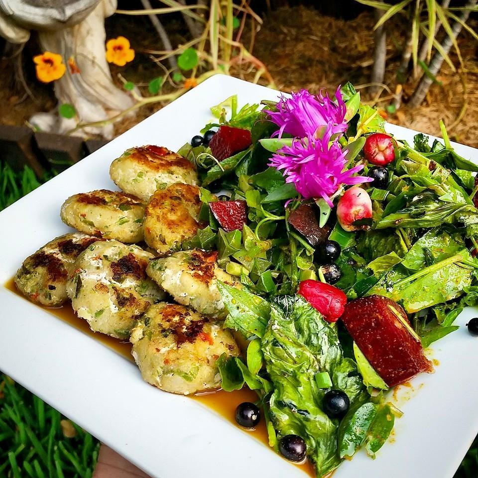 Thai fish cakes with wild food salad and turmeric sun dressing