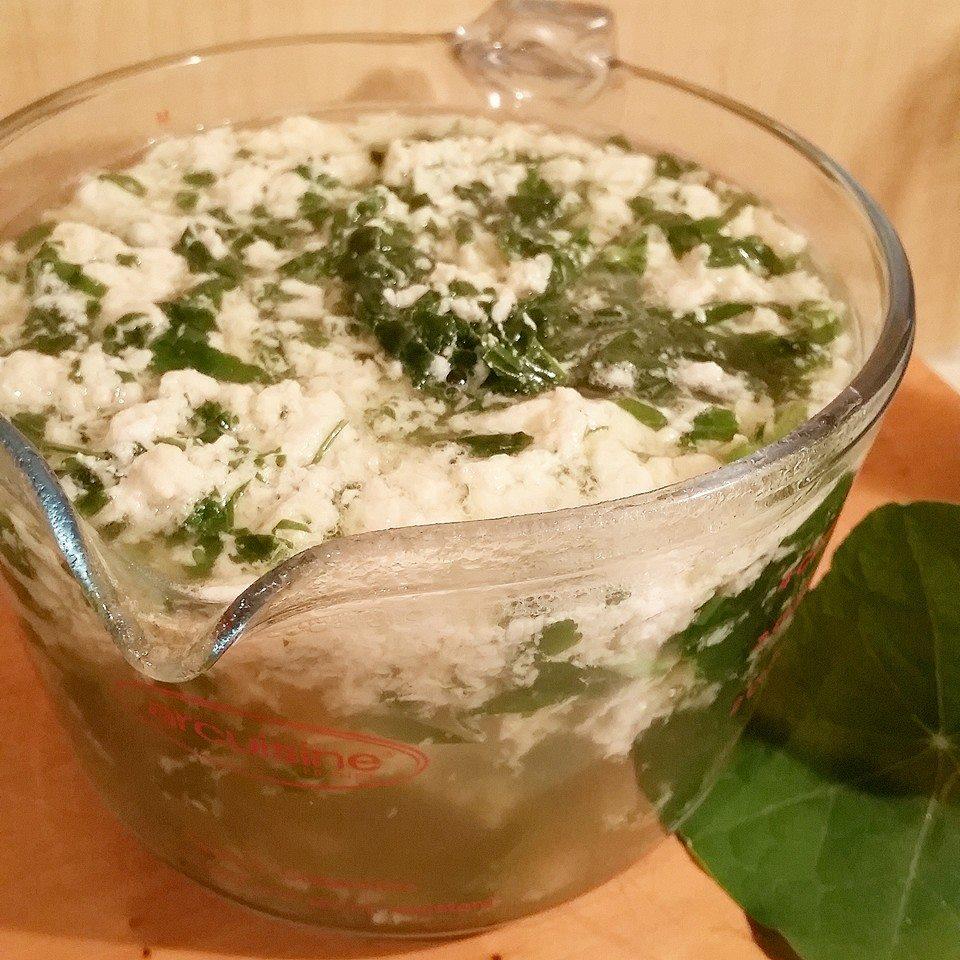 Nasturtium stracciatella (Italian egg drop soup)
