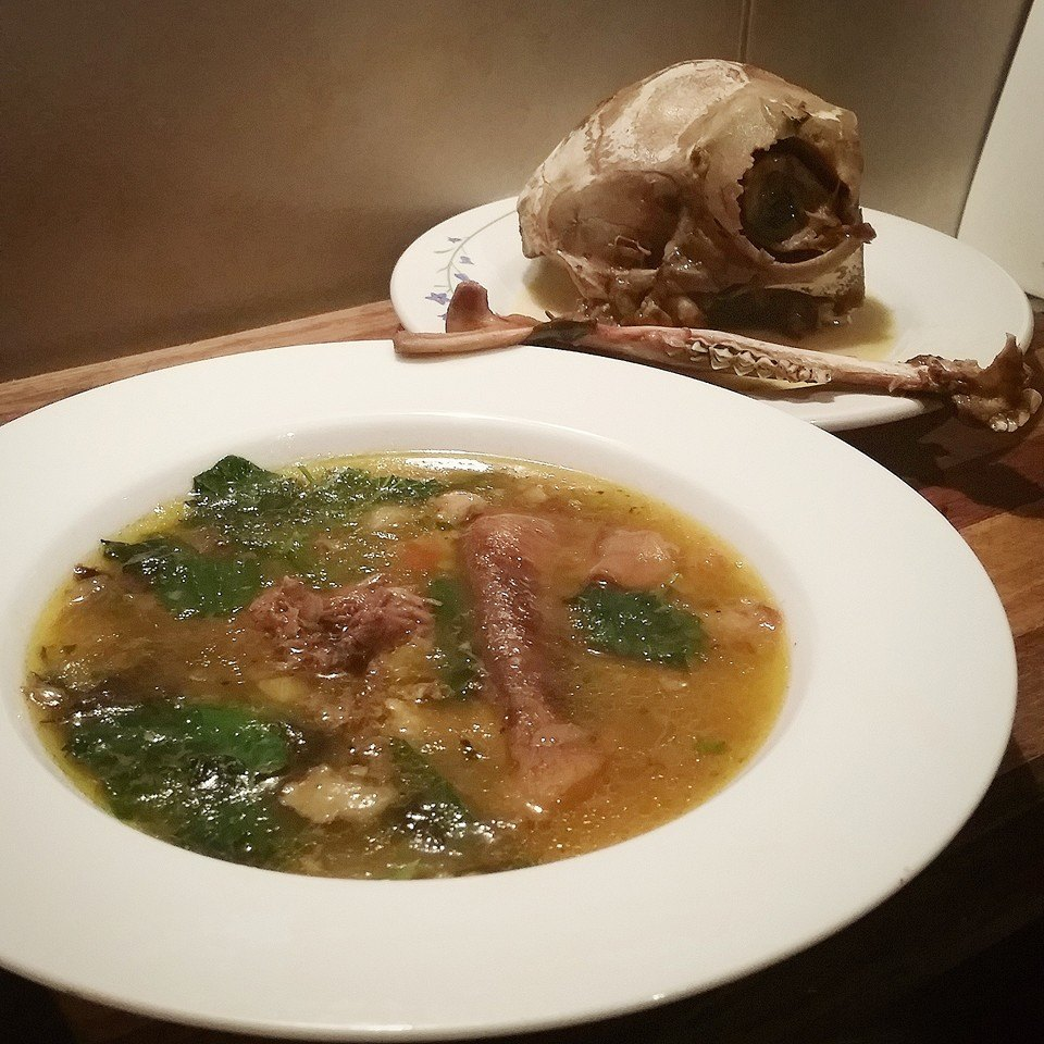 Traditional Kalah Pacha broth with stinging nettles