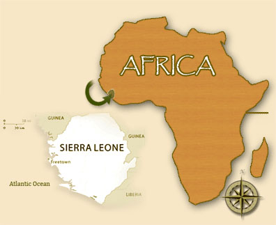 Sierra Leone is a country on the west coast of Africa that is smaller than Washington State and has a population of approximately 6 million.