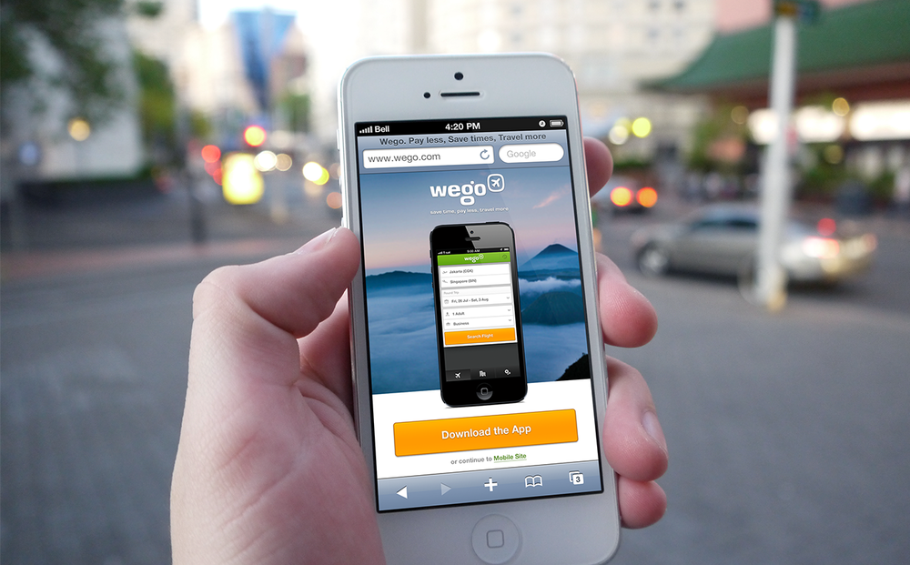 Promotional page when user browse wego.com from mobile browser