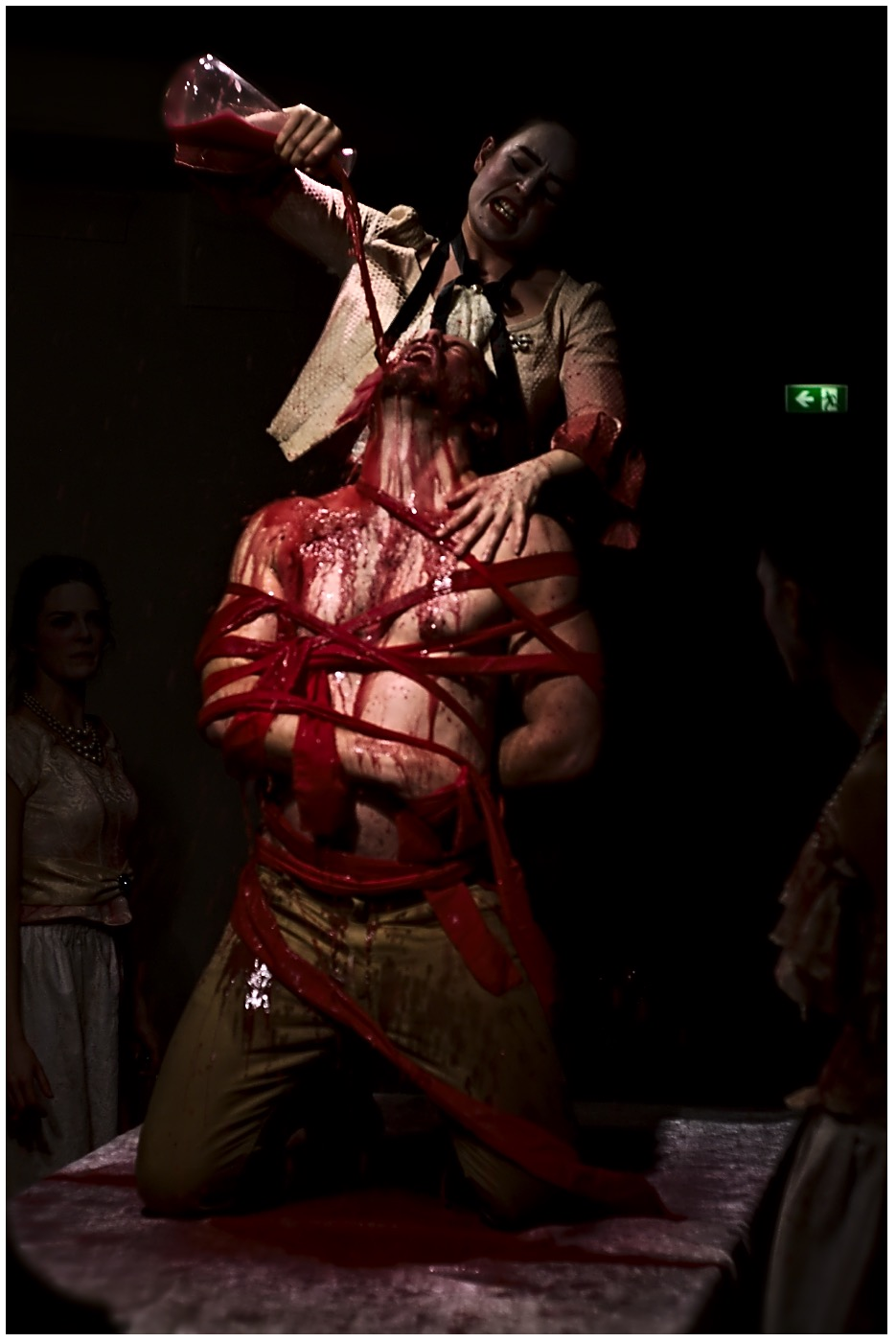 Richard Hilliar's Hippolytus is devoured by a sea monster in 2014's  Phaedra . Photo Sasha Cohen.