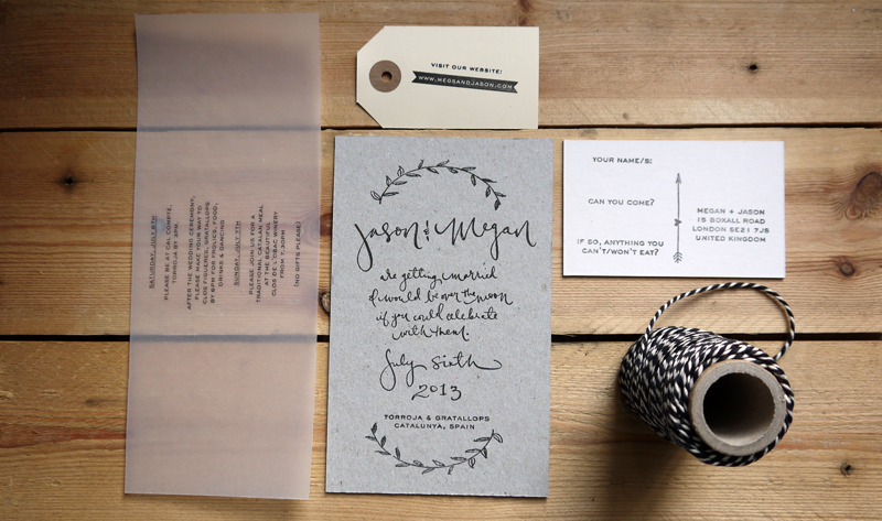 Wedding Invitations Megan Riera London Lettering Modern