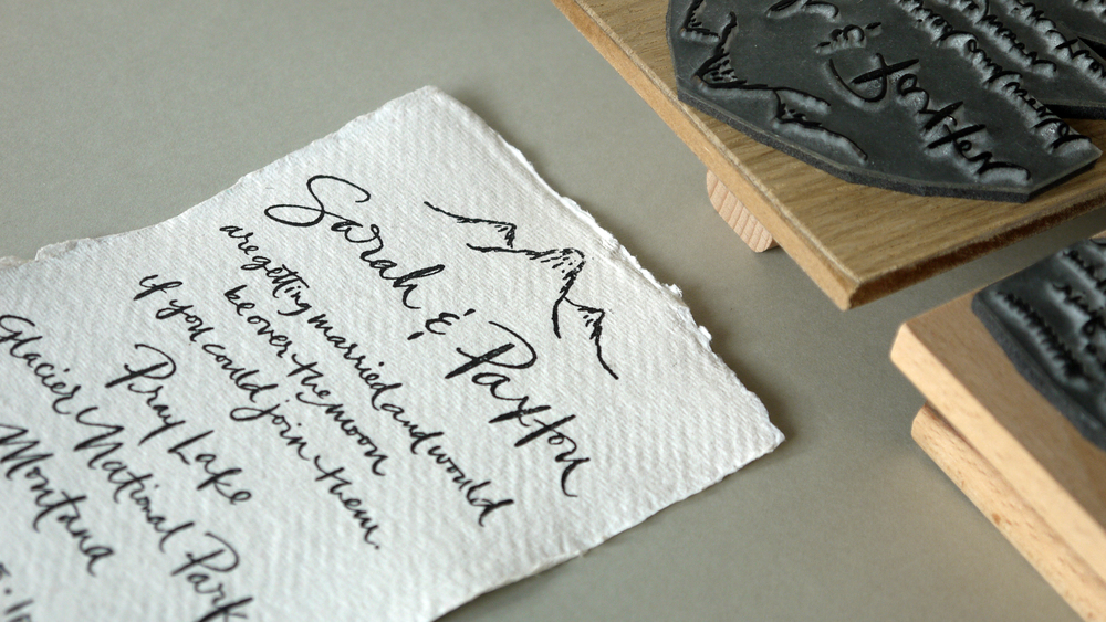 Rubber stamped wedding invitations for Sarah & Paxton's Montana wedding