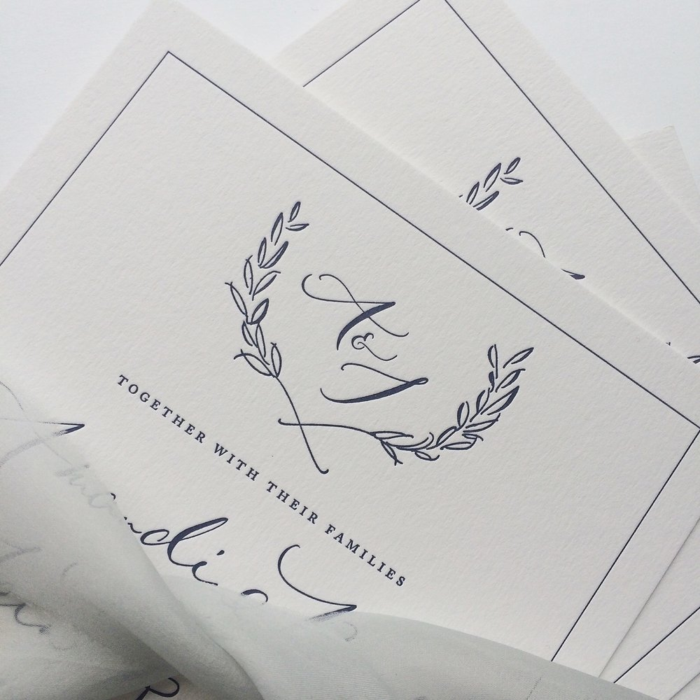 Letterpress invitations for Amandine & Iain's Tuscan wedding