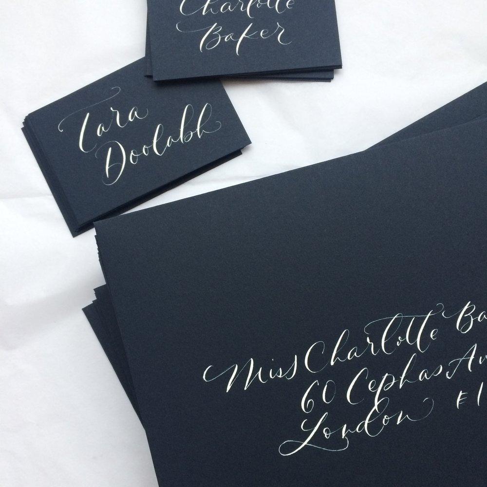 Envelope and place card calligraphy