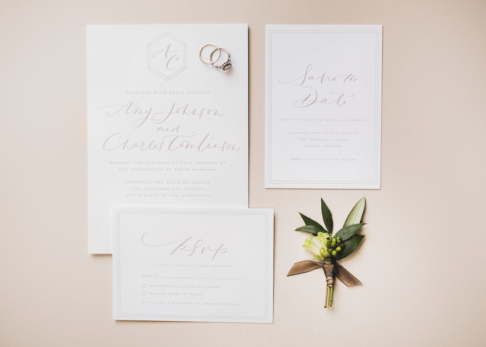 Letterpress suite, shot by John Barwood. Florals by Ruby and the Wolf
