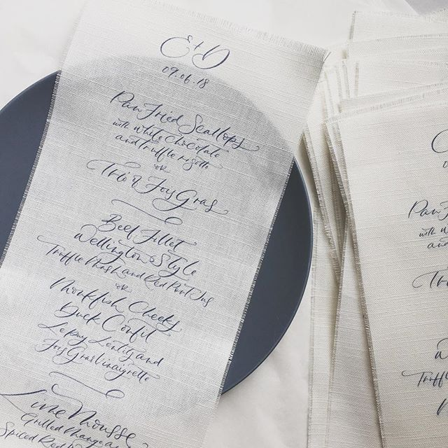 My new favourite thing - menus on linen. Thank you @helainastoreyweddingdesign for the lovely brief!