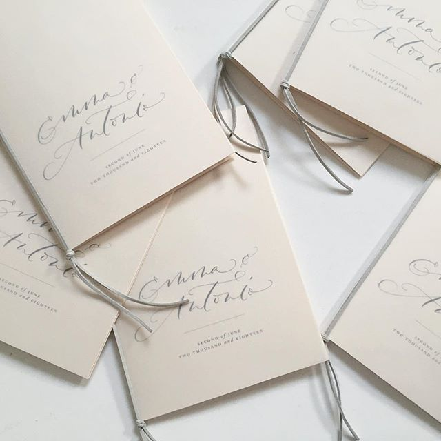 Hoping these two had the happiest day yesterday at @aynhoepark. I created their place cards, escort cards, signage, menus, and these dreamy vellum covered Orders of Service booklets with suede string to bind. I think these would actually make pretty great wedding invitations!