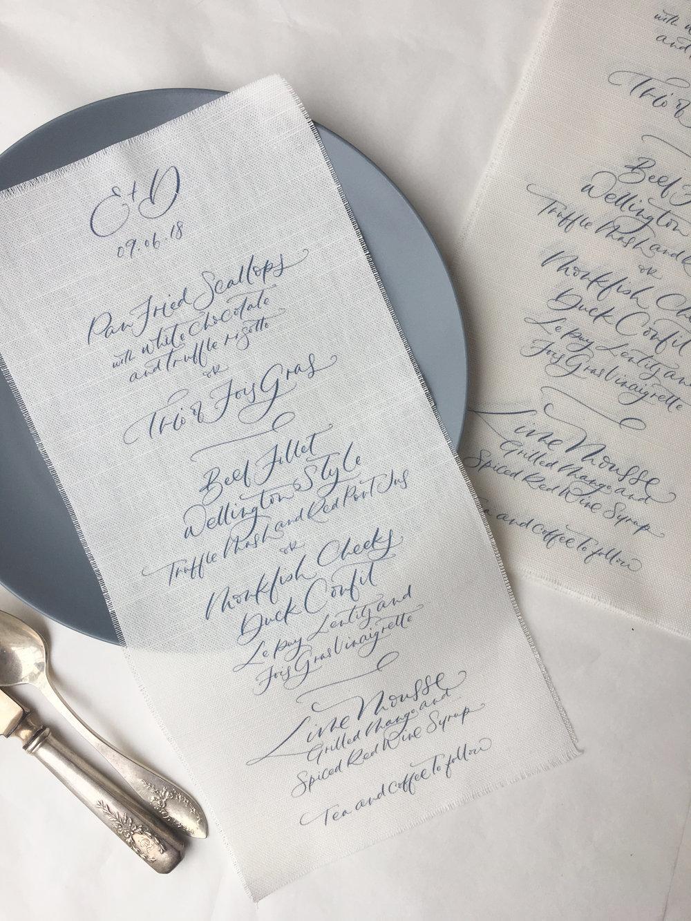 Bespoke linen menus
