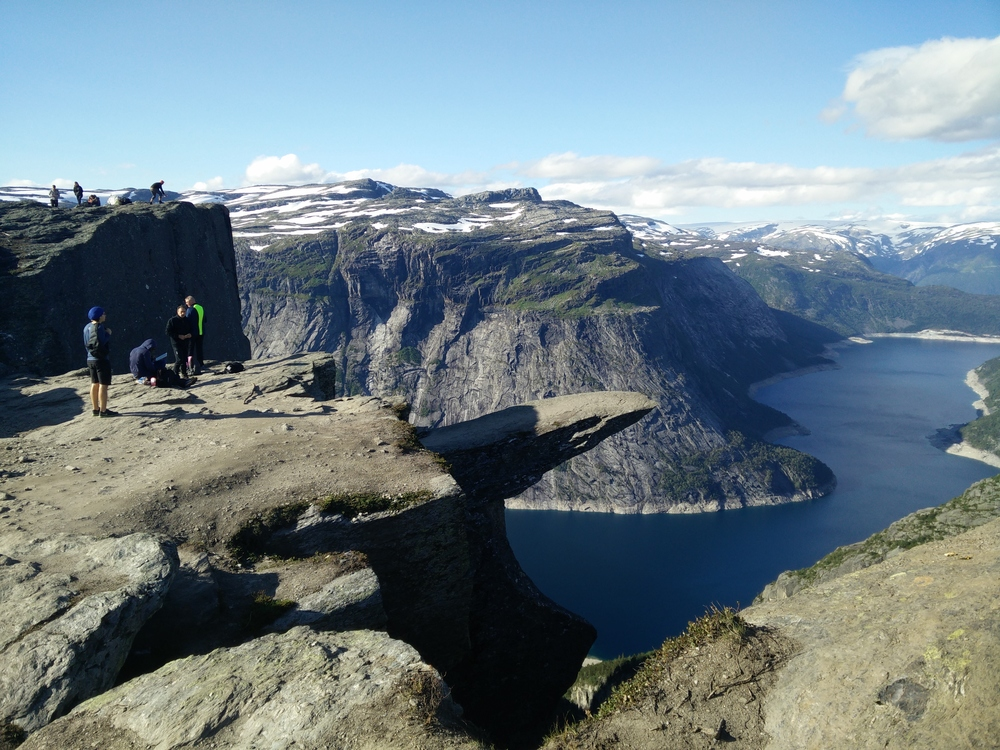 The first sight of Trolltunga - the most famous ledge