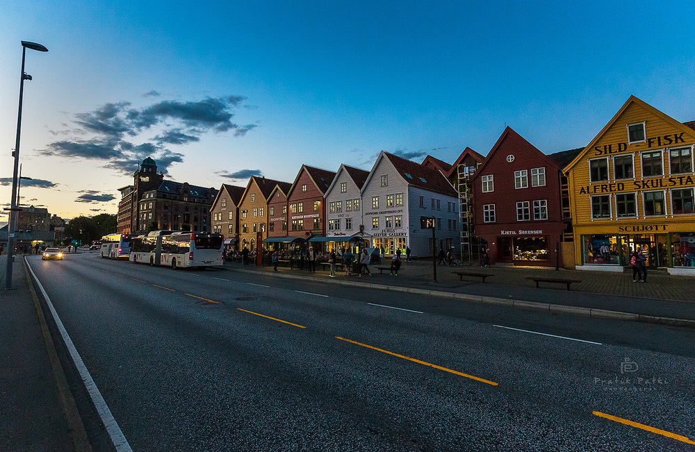 The colorful Bryggen at sunset