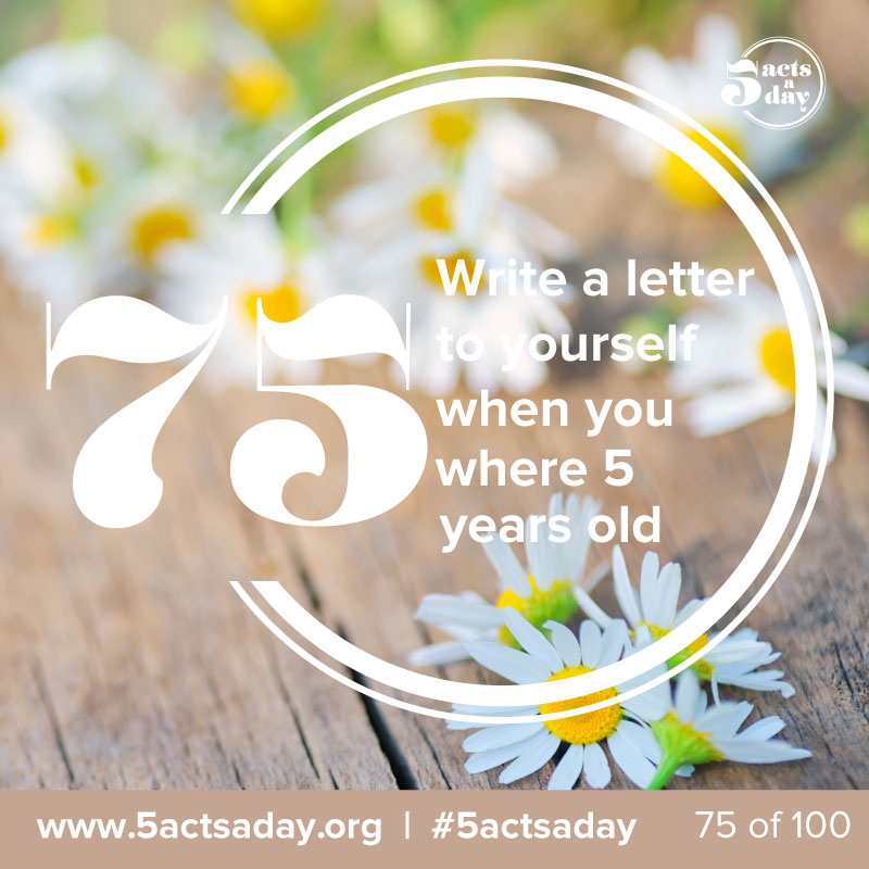 #Day8 #challenge1 - Write to yourself a letter when you were 5 years old    We are going to kick off week 2 with some self love.    Have some fun with this one ha ha, if you could go back in time and inspire the 5year old you, what would you say to that little boy or girl? If you actually give this one some thought, it can be quite therapeutic!