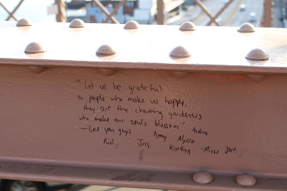 Cute little message I found on the bridge.