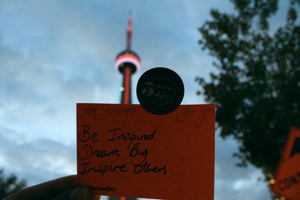 The very last note l left in Toronto.  Be Inspired  Dream Big  Inspire others