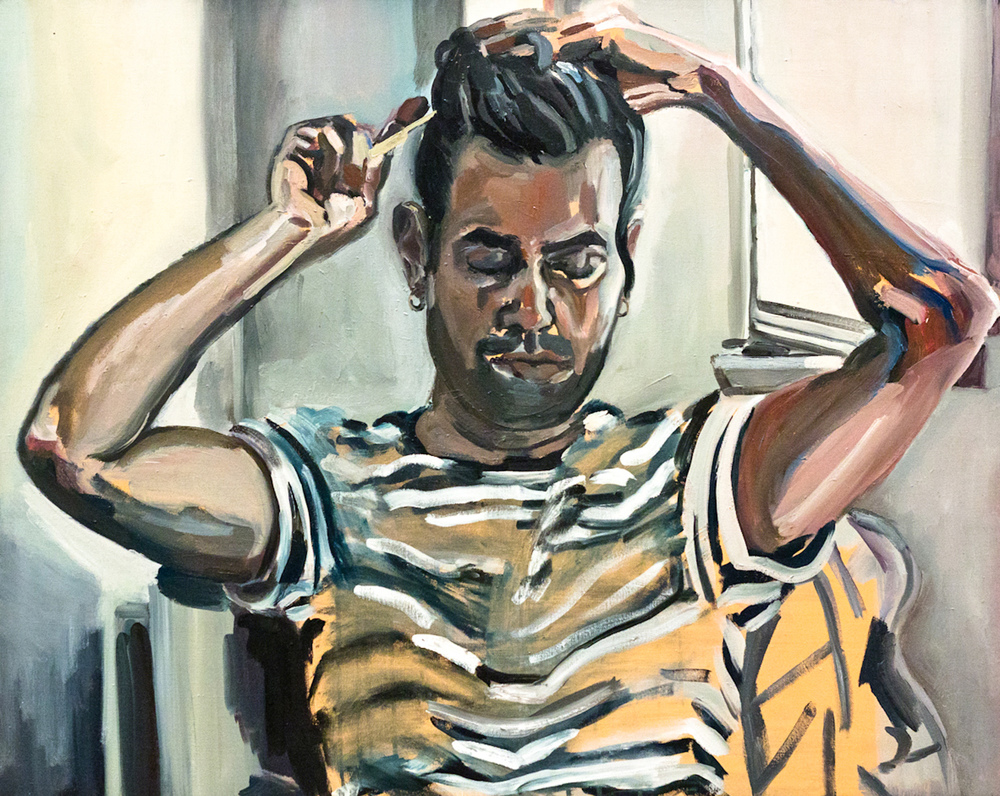 Shay Taking Up His Hair, Oil on canvas, 80X100 cm, 2010
