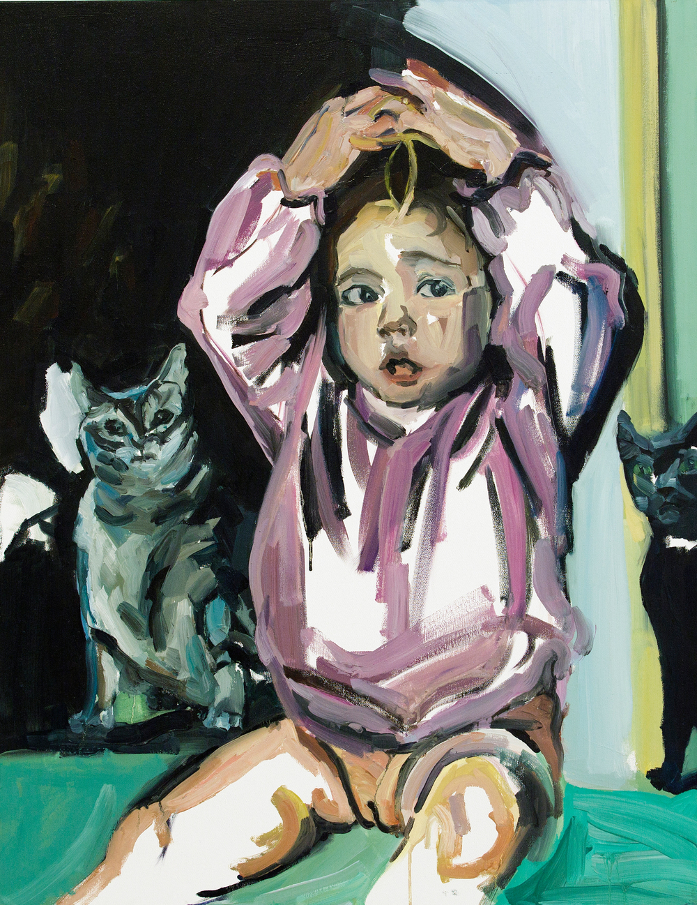 Eliya and the cats, oil on canvas, 90X70 cm, 2013