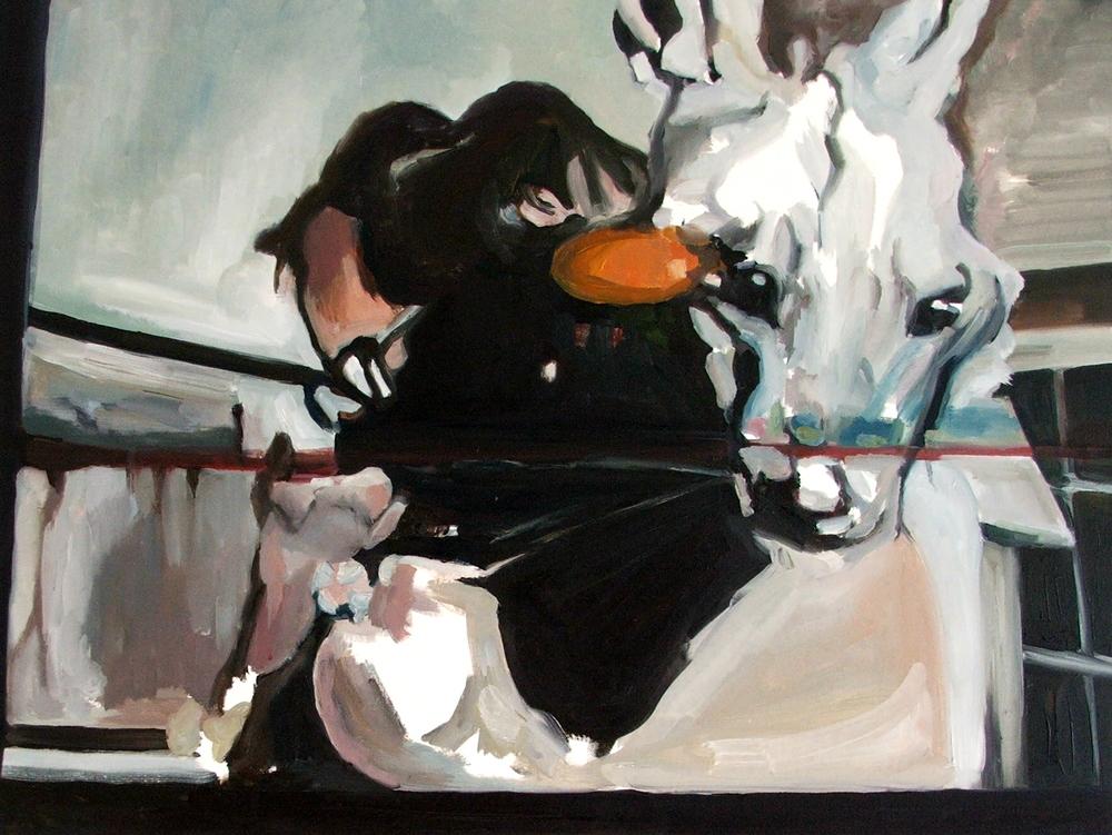 Hugging a wild animal, Oil on canvas, 60X80 cm, 2010