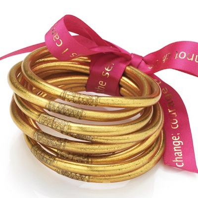 BuDhaGirl All Weather Gold Bangles Serenity Prayer