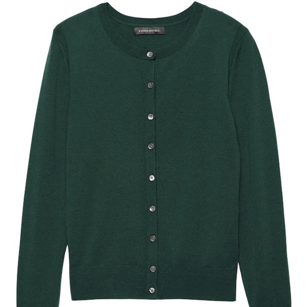 Washable Merino Wool Cropped Cardigan Sweater