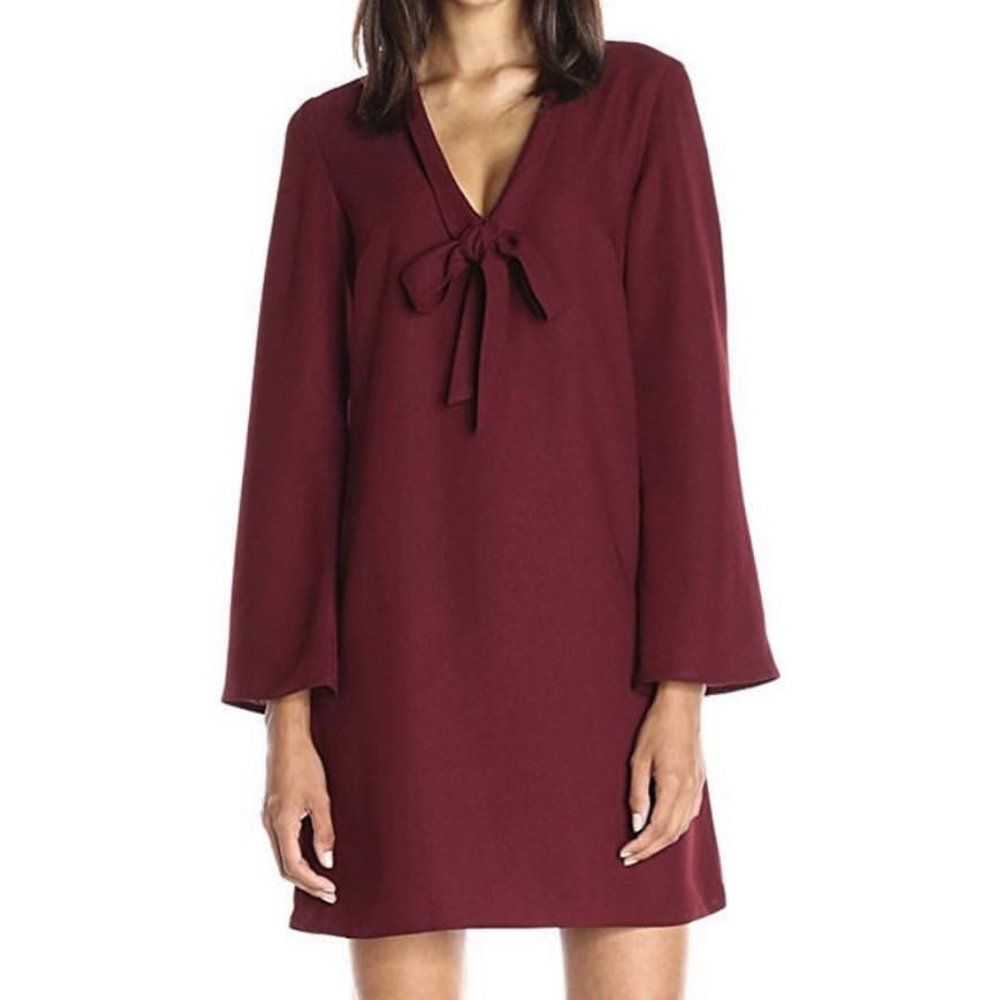 Lark & Ro Women's V-Neck Tied Bow Shift Dress